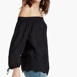 Lucky Brand Black Off Shoulder Embroider Top, Sz L